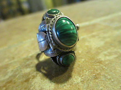 OLD PAWN SOUTHWESTERN  Sterling Silver Malachite POISON PILL Ring   Adjustable