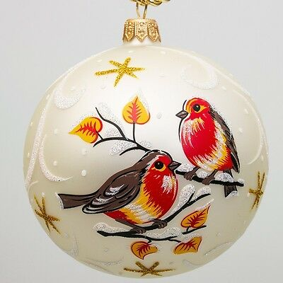 Glass Christmas Ornament Hand Painted in Russia Birds Pattern 3.5''