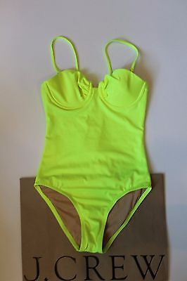 a7dcfe7b2a148 NWT J Crew Short Torso Neon Ruched Underwire Tank NEON YELLOW Sz 2 XS A4838