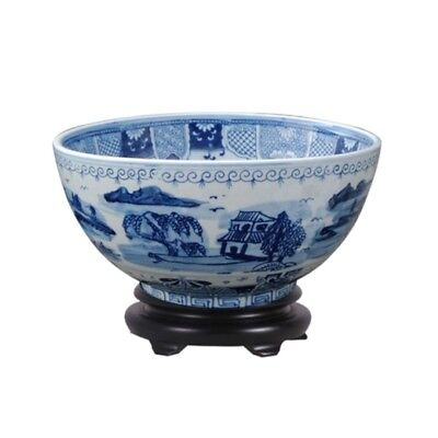 """Chinese Blue and White Blue Willow Porcelain Bowl w Base 14"""" Diameter"""