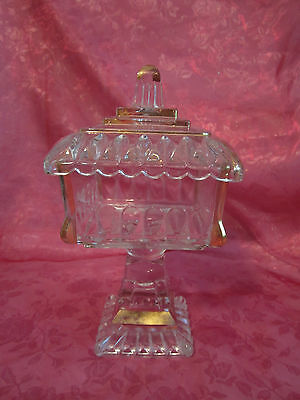"""Vintage Compote Candy Dish On Pedestal w/ Lid Pressed Glass Gold Trim 8.5"""" tall"""