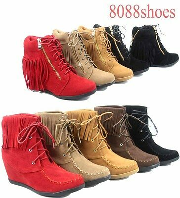 4e1f1e60767d8 Women's Fashion Fringe Lace UP Low Wedge Sneaker Booties Shoes Size 5 - 10  NEW