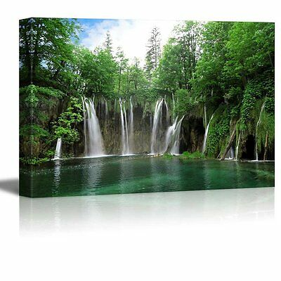 "Canvas Wall Art Prints - Waterfall in Plitvice National Park Croatia- 24"" x 36"""