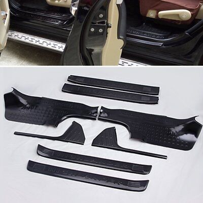 Black New Stainless Door Sill Scuff Plate Guard Trim For Toyota Highlander 15 16
