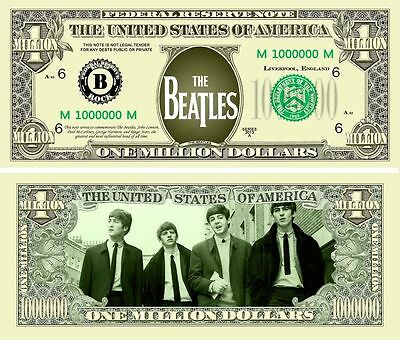 The Beatles Million Dollar Novelty Collector Bill Note