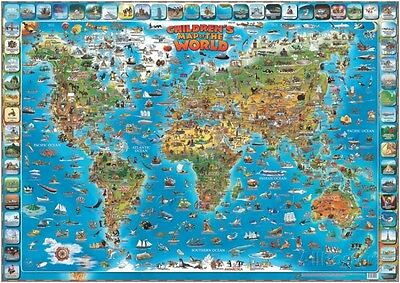 childrens map of the world educational poster laminated poster print 54x38
