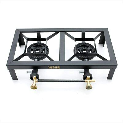 Viper Cast Iron Gas Boiling Ring Double LPG Burner Cooker Outdoor Camping Pan
