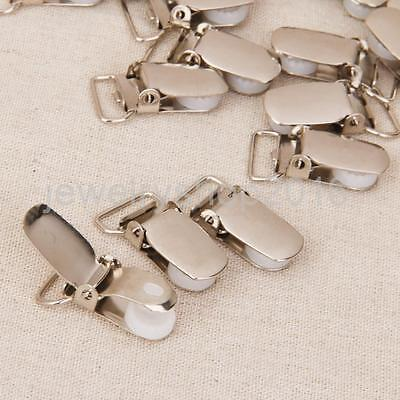 20pcs 15mm Webbing Hook Pacifier Suspender Clips for Craft DIY - Silver