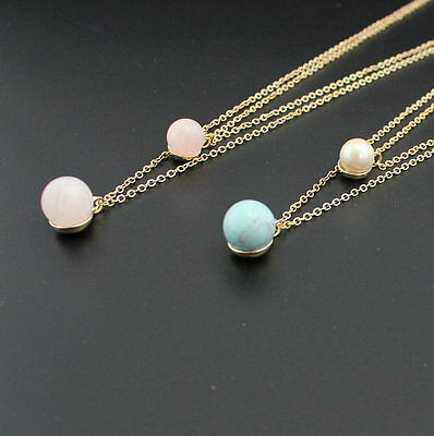 Fashion 14K Gold Plated Natural Stone Turquoise Quartz Bead Pendant Necklace