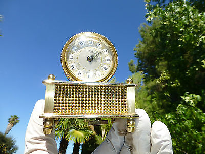 Vintage French Musical Alarm Clock Reuge Music Box Movement Plays Musical Alarm