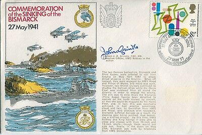 WW2 Sinking of Bismarck HMS Rodney veteran signed cover