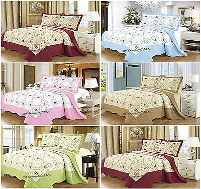 Bedspread 3PC Cotton Quilted Bedspread set Comforter Bed Set Throw  Double King