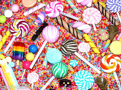 CandyCabsUK Mixed Clay Cabochons + Sprinkles Topping Flatback Cabochon BULK DIY