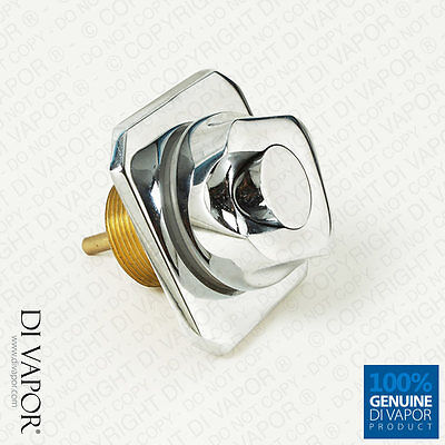 Square Chrome Brass Air Switch for Whirlpool Bath - Push / Pressure - 35mm