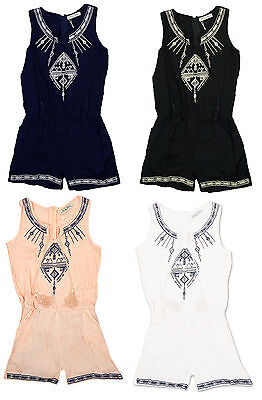 Girls Embroidered Detail Tassels Short Playsuit Fashion Romper 3 to 14 Years
