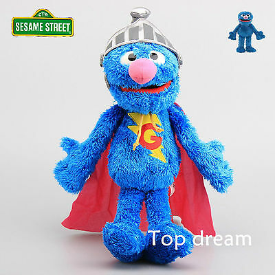 "Genuine Cartoon Sesame Street Super Grover Plush Toy Soft Stuffed Doll 15"" Teddy"