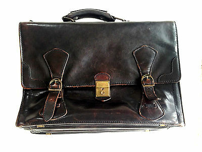 LEATHER Vintage Mens Handbag Soft Briefcase Canadian OxhHide Bouvillon Antico
