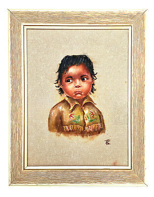 LITTLE INDIAN GIRL Pastel On Burlap Original Native Signed TSC First Nations