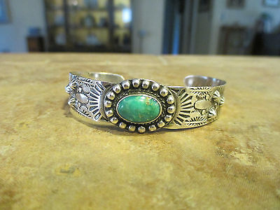 Old Fred Harvey Navajo Sterling Silver Turquoise Bracelet with Corn & Snakes