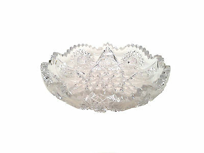 AMERICAN BRILLIANT Cut Glass Lead Crystal Shallow Bowl