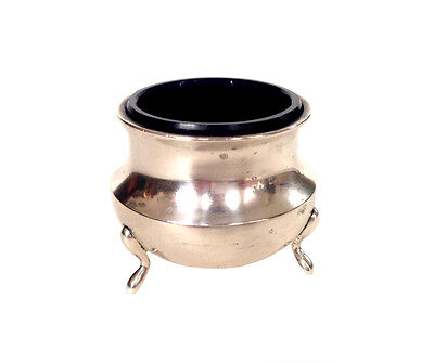 ART DECO Sterling Silver Hallmarked Salt Cellar w Original Cobalt Blue Glass