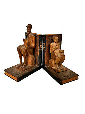 SPANISH DON QUIXOTE 'DE LA MANCHA' Hand Carved Wood Figural Bookends Books