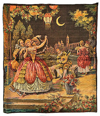 BELGIUM Embroidered Tapestry Textile 'COURTING LADIES' Renaissance Scene