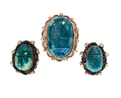 EGYPTIAN REVIVAL Faience Scarab Sterling Silver Brooch & Clip on Earrings Set