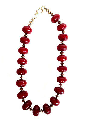 ART DECO Cherry Red 'Bakelite Catalan' Style Early Plastic Beaded Necklace