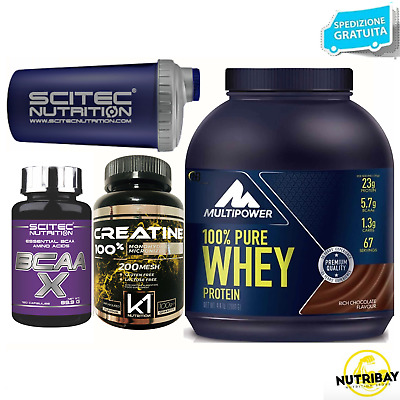 Multipower 100% Pure Whey 2 KG Proteine Siero Latte + 120 Bcaa e Creatina Scitec