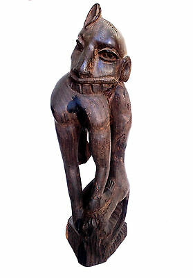 ZIMBABWE Carved Ebony Wood Abstract Figure Eating