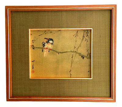 JAPANESE PAINTINGS Oil On Canvas Hand Painted Bird On Bamboo Framed