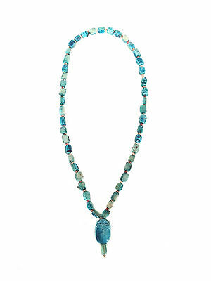 ANCIENT EGYPTIAN Style Turquoise Faience Scarab Beaded Necklace
