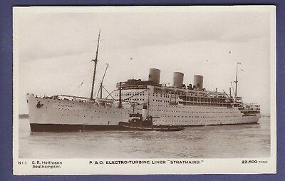 RMS Strathaird - Vintage REAL PHOTO B&W Postcard - Peninsular & Oriental Line