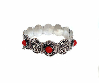 CHINESE SILVER Red Faux Coral Glass Bead Hinged Bracelet
