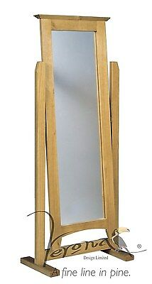 Free Standing Large Cheval Mirror in Solid Pine with Antique Finish
