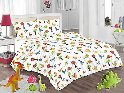 Childrens Kids Dino Character Themed Single Duvet Cover Quilt Cover Bedding Set