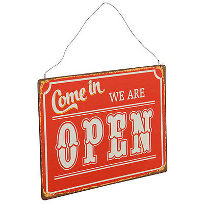 Open Close Sign Distressed Red Metal For Shop Or Restaurant