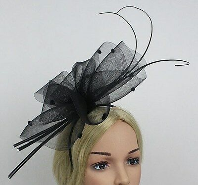 Black Sinamay Fascinator With Velvet Spotted Netting On Headband/Long Feathers