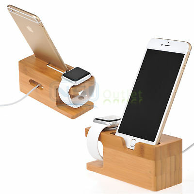 Bamboo Wood Charging Dock Station Charger Stand Holder For Apple iWatch & iPhone