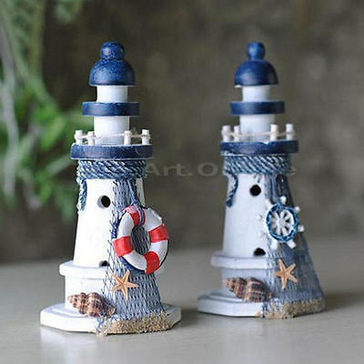 Nautical Decor Wooden Lighthouse Tower Home Decor Starfish Shell Red Lifebouy