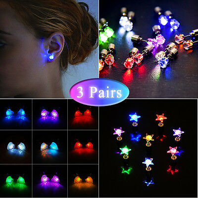 3 Pairs LED Glowing Earrings 3 Shapes(Crown+Heart+Star) Light up Flash Ear Studs