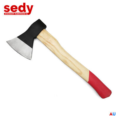 "14"" Axe Wooden Handle Camping Firewood Piling Splitter Drop Forged Steel 500g"