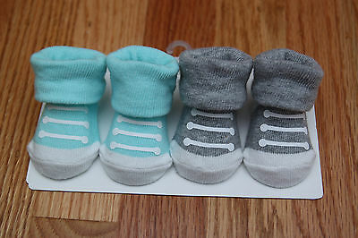 Carter's Baby Boy 2 Pair Booties Set ~ Mint Green, Heather Gray & White ~ NB ~