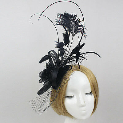Stunning Black Felt & Sinamay Fascinator With Long Feathers, Netting & Flower