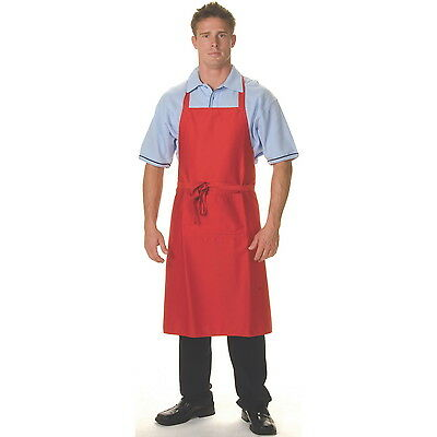 2 x Chef Cook Full Bib Red DNC Apron with Pocket Uniform - BRAND NEW