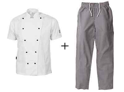Chef Jacket White Short Sleeve DNC Trad + Check Elastic Drawstring Pants DNC