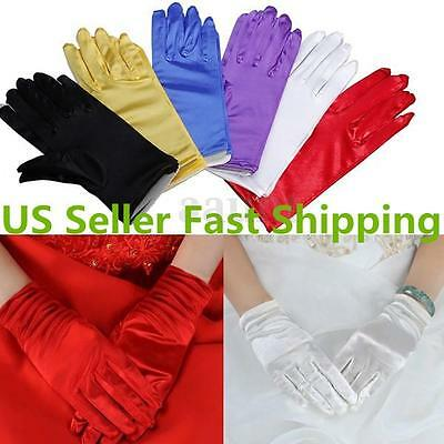 9'' Lady Short Smooth Satin Gloves Wrist Formal Wedding Evening Party Prom US