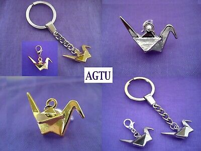 U PICK CHARM Gold Silver 3D Origami Crane Clip On or KeyChain Necklace AGTU