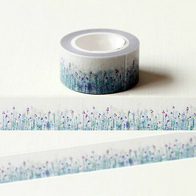 Blue Lavender Flower Washi Paper Masking Tapes Adhesive Decorative Tape 20mm*10m